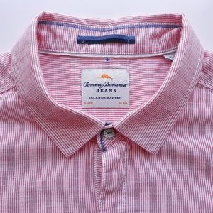 Tommy Bahama Jeans Mens Shirt Size XL Pink Striped
